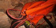 """Жаби-дървесница (Hyla arborea) на дъното на втория отвес в пропастната пещера Каденица. Снимка: Иван Петров ПК """"Хеликтит"""" София."""