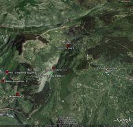 Разположение на пещерите в района.